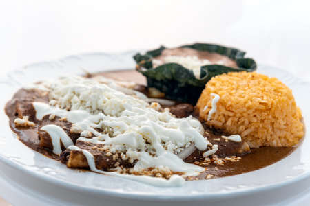 Enchiladas mole served with rice and tortilla chip bowl refried beans looks and tastes appealing.
