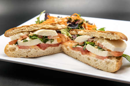 Caprese Panini stacked with layers of ingredients of delicious food for this meal.