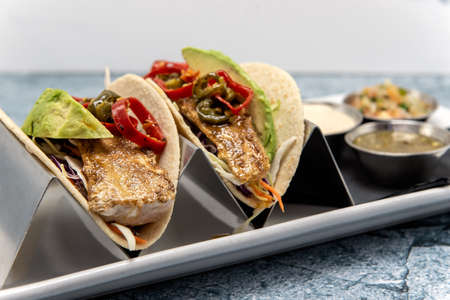 Pair of grilled fish tacos loaded with fillings and topped with fresh avocado wedges. Фото со стока