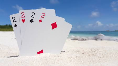 clubs diamonds: Maldives beautiful beach background white sandy tropical paradise island with blue sky sea water ocean 4k playing cards twos Stock Photo
