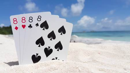 eights: Maldives beautiful beach background white sandy tropical paradise island with blue sky sea water ocean 4k playing cards eights