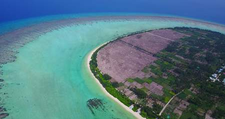 sandbank: v05036 Aerial flying drone view of Maldives white sandy beach on sunny tropical paradise island with aqua blue sky sea water ocean 4k