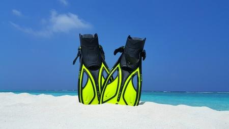 flippers: Maldives white sandy beach fins snorkel mask scuba flippers on sunny tropical paradise island with aqua blue sky sea ocean 4k Foto de archivo