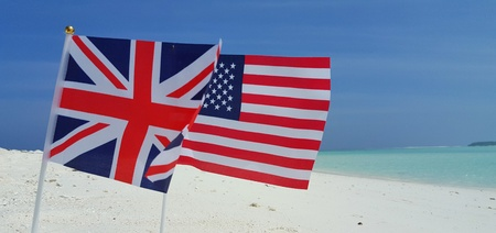 continente americano: american and uk union jackFlag background