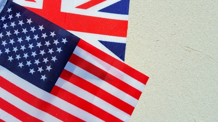 continente americano: usa american and uk union jackFlag background