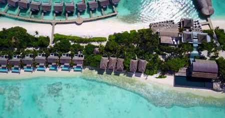 Fünf 5 Sterne Resort Wasserbungalows In Malediven Mit Drohne Antenne