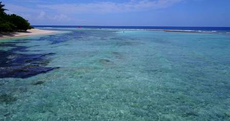 maldives white sand beach tropical islands view with aqua blue sea water and sunny sky