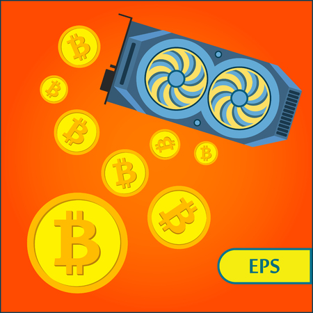 Bitcoin Cryptocurrency Mining Graphic Video Card on orange background Illustration