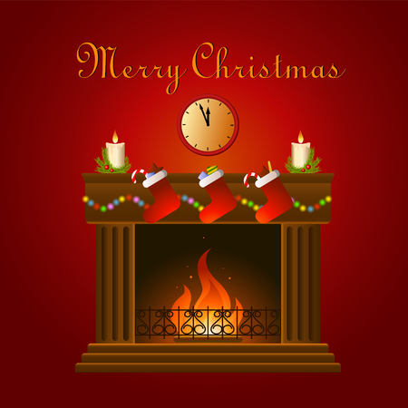 illustration of christmas decoration around fire place on the red background