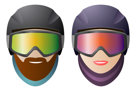 Front view, man and woman snowboarders with classic glasses and helmet.