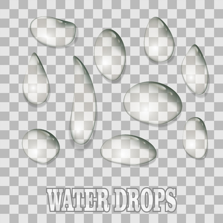Water drops condensation on transparent background. Abstract realistic droplet set texture Иллюстрация