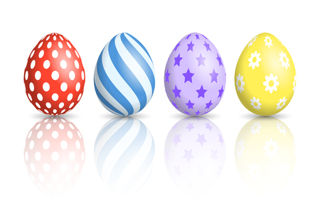 Colorful Easter Eggs on white background Vector illustration