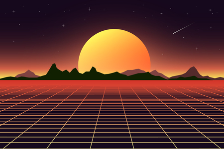 Retro background futuristic landscape 1980s style. Digital retro landscape cyber surface. Retro music album cover template sun, space, mountains .