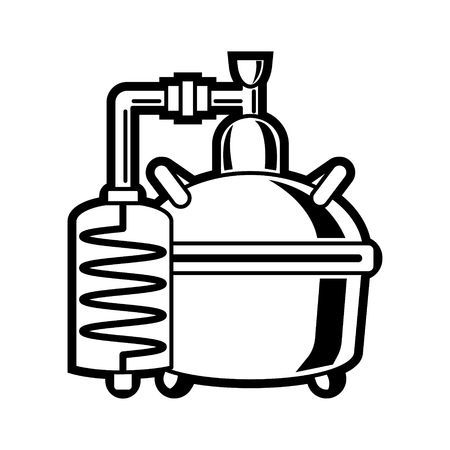 Cooper alcohol distillation unit alembic. Illustration