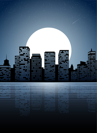 Night city. Dark urban scape. Night cityscape in flat style, abstract background.