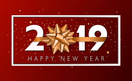 Vector 2019 Happy New Year background with golden gift bow