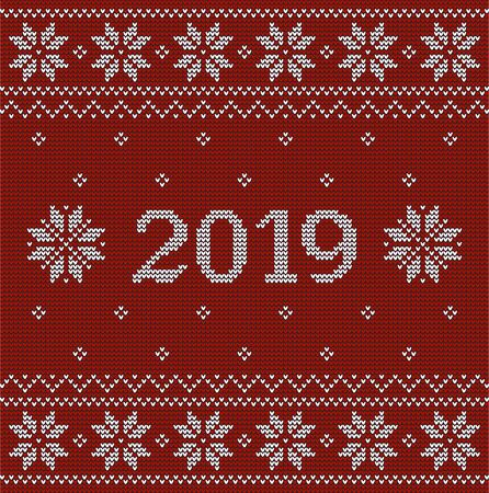 Christmas red jumper fragment with 2019 New Year. Vector illustration Stock Illustratie