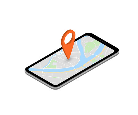City map route navigation smartphone, phone point marker vector drawing schema isometric city plan GPS navigation tablet, itinerary destination arrow isometry paper city map. Route isometric check pin