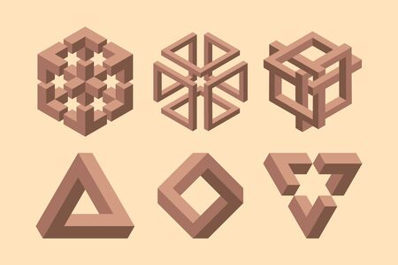 Graphic impossible shapes. Circle, square and triangle symbols with escher paradox impossible geometry geometric graphic Illustration