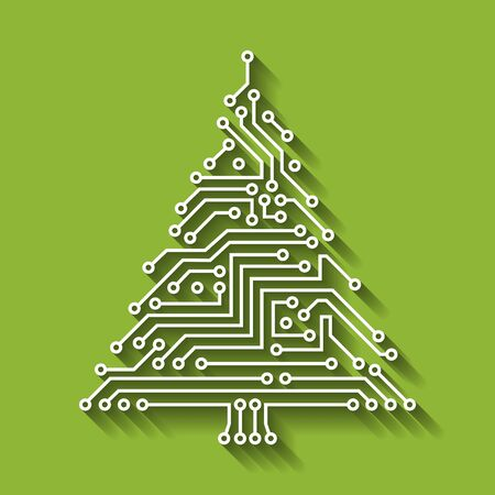 Albero di Natale a circuito elettronico, felice anno nuovo