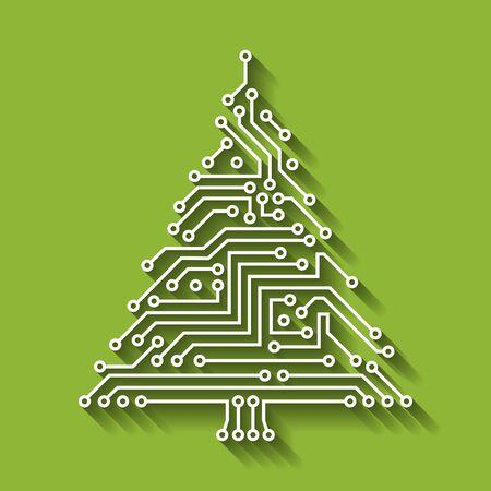 Circuito electrónico árbol de navidad, feliz año nuevo