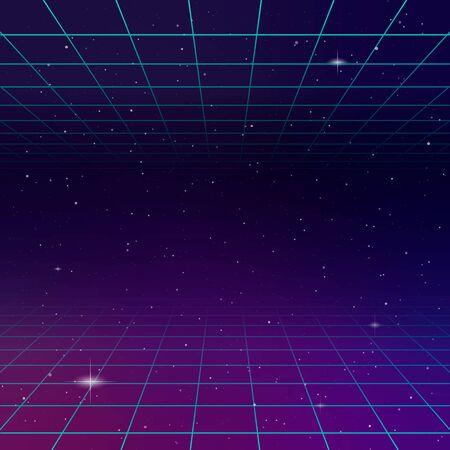 Illustrazione di sfondo fantascienza futuristico design retrò anni '80 Vettoriali