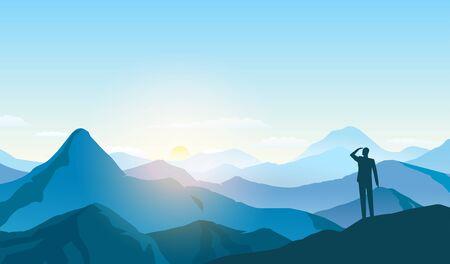 man looking landscape, business goal, motivating illustration
