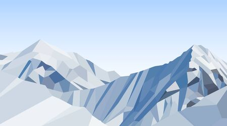 Day mountains low poly vector, blue sky