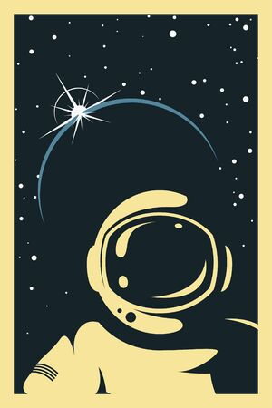 Space Poster. Stylized under the Old Soviet Space Propaganda. Cosmonaut into space Stockfoto - 149391740