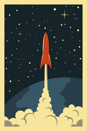 Space Poster. Stylized under the Old Soviet Space Propaganda. Rocket into space Stockfoto - 149393088