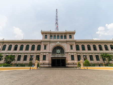 Saigon Central Post Office in Ho Chi Min, Vietnam, designed and constructed by French architect Gustave Eiffel in the early 20th century  Editorial