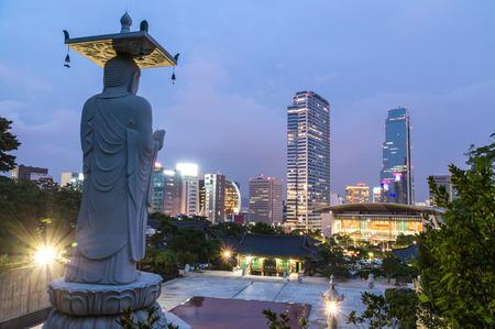 Seoul city night view from Bongeunsa Temple photo