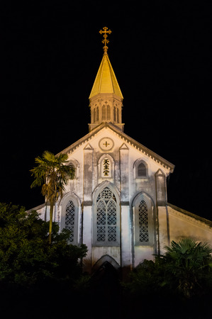 tentative: Night view of Oura Church in Nagasaki, Japan.