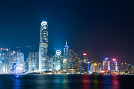 nightview: Nightview of Victoria Harbour in Hong Kong (Hong Kong Island side view from Tsim Sha Tsui) Stock Photo
