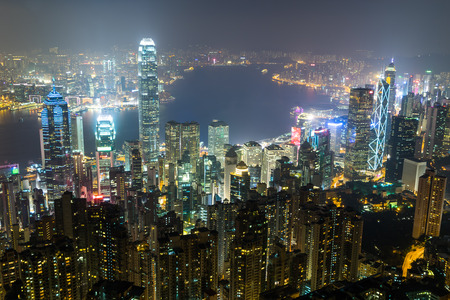 nightview: Nightview from Victoria Peak in Hong Kong