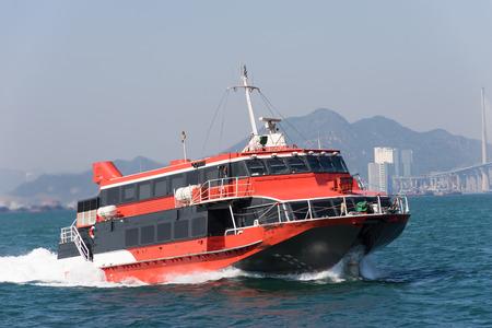 Jetfoil 페리 선 홍콩 빅토리아 항구에서