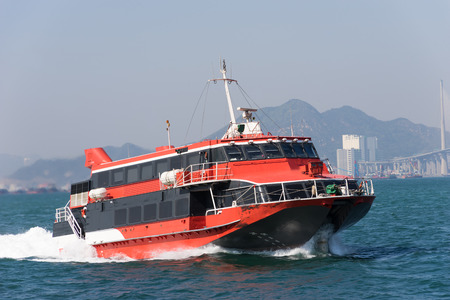 Jetfoil ferry ship at Victoria Harbour in Hong Kong