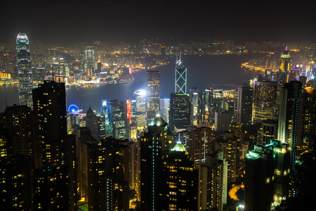 nightview: Nightview of Hong Kong city from Victoria Peak Stock Photo