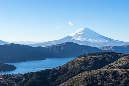 Mt. Fuji and Lake Ashi in Hakone, Japan photo