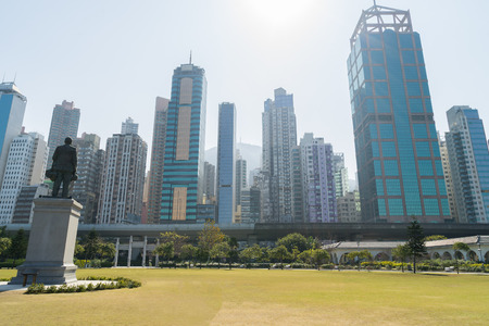 sen: Cityscape of Sheung Wan area from the Sun Yat Sen Memorial Park in HongKong, China. Editorial