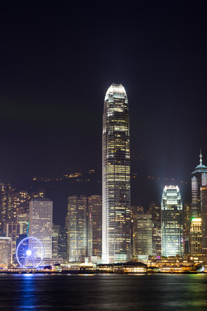 nightview: Nightview of Victoria Harbour in Hong Kong Stock Photo