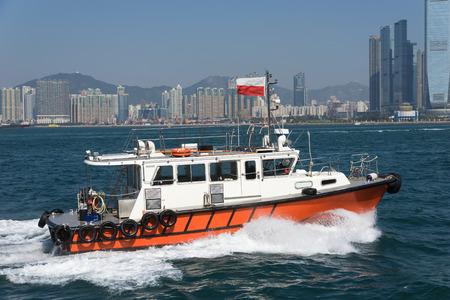 marine ship: Pilot boat of Hong Kong at Victoria Harbour
