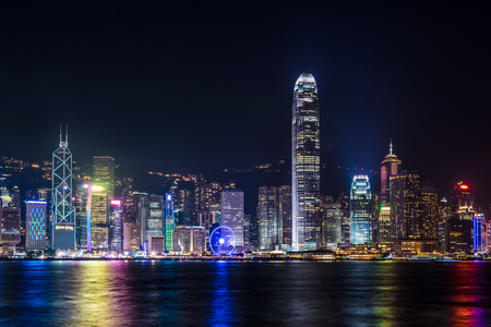 nightview: Nightview of Victoria Harbour in Hong Kong. (Hong Kong Island side view from Tsim Sha Tsui)