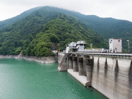 Landscape of Ikawa Dam (Ikawa Hydro Power Plant) in Shizuoka, Japan. Stock Photo