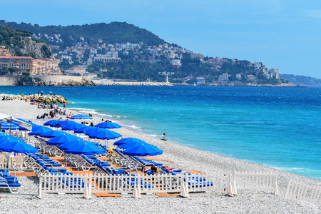 french riviera: The beach of Nice on the French Riviera