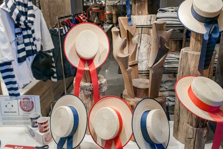 libertine: Showcase in Venice Gondolier straw hat Stock Photo