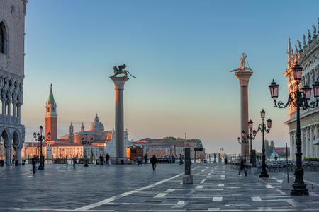 st marks square: Europe, Venice, St. Marks Square in the sunshine in the morning Stock Photo