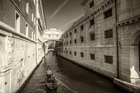 nuove: Venice, prison with the Bridge of Sighs Prigione Nuove in Sepia
