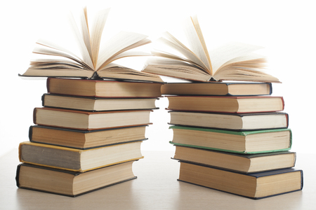 Stack of books isolated on white background. Stock Photo