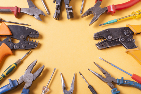 dielectric: Set of electrical tools. Stock Photo
